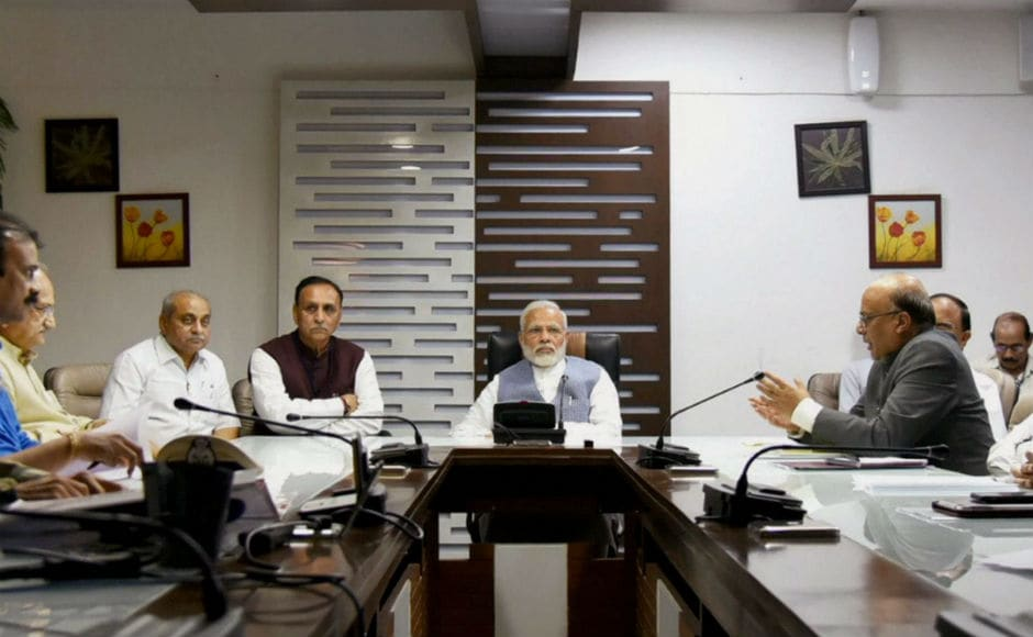 The prime minister also chaired a meeting with Gujarat chief minister Vijay Rupani, Anandiben Patel and top officials of the state government to take stock of the situation. PTI