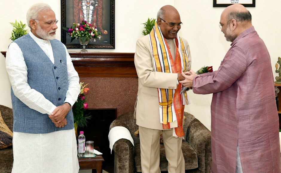 Along with BJP chief Amit Shah, he felicitated the President-elect at his residence. Amit shah said that his win is a victory for the poor, downtrodden and the marginalised. PTI