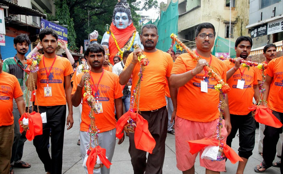 A large number of 'kanwariyas', Shiva devotees on annual pilgrimage also gathered in Mumbai to offer holy water. PTI