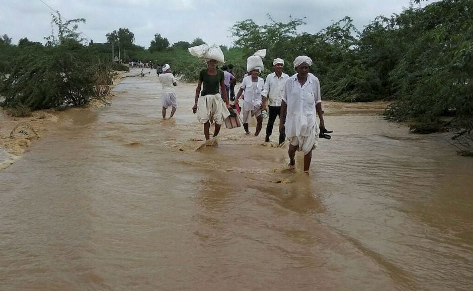 In Rajasthan's Jalore, Pali and Sirohi areas, continuous spells of heavy downpour created flood-like situation. Six people were killed, including two children. So far, rescue and relief teams has rescued over 500 people. PTI