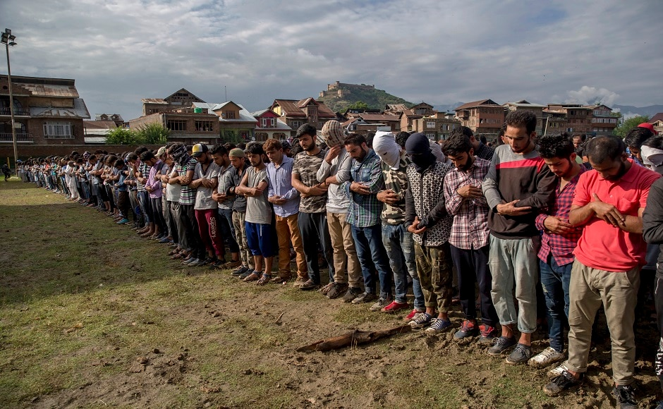 Later, the prayer for the slain militant was offered at a nearby stadium. Gilkar was buried at his ancestral graveyard in the locality, the officials said. AP