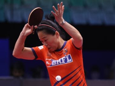 Fu Yu of DHFL Maharashtra United  in action. Image courtesy: Ultimate Table Tennis