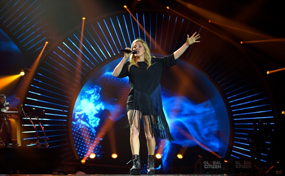 Singer Ellie Goulding performs at the Global Citizen Festival concert on the eve of the G-20 summit in Hamburg, northern Germany, Thursday, July 6, 2017. The leaders of the group of 20 meet July 7 and 8. (AP Photo/Jens Meyer)