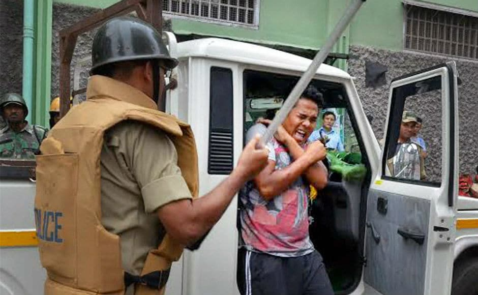 The clash began after pelting of stones and bottles at the police by the youth participating in a Gorkhaland rally. PTI