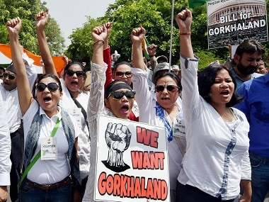 Pro-statehood agitators have been protesting in Darjeeling since nearly two months. PTI file image