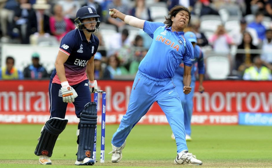 Jhulan Goswami's 3 for 23 restricted England to 228 for 7 in their 50 overs. AP