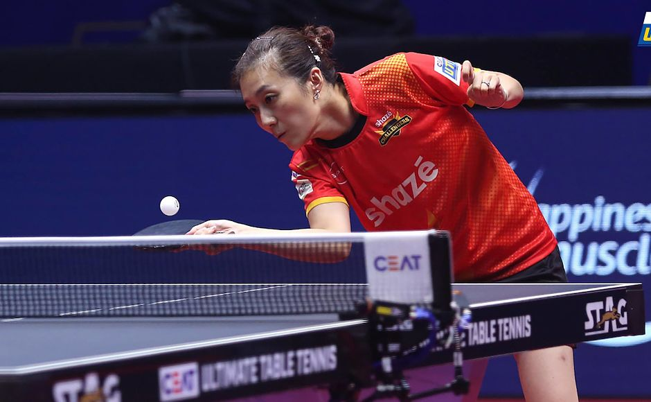 Han Ying's 2-1 victory over Sofia Polcanova ensured Challengers' won the tie. Image Courtesy: Facebook/UltimateTableTennis