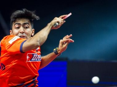 Harmeet Desai of DHFL Maharashtra United in action on Saturday. Image courtesy: Ultimate Table Tennis