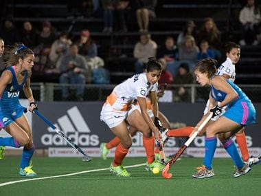 India's women's hockey team in the match against Argentina. AFP