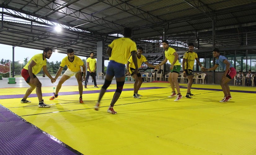 Telugu Titans players in action during practice. They play Tamil Thalavias in the opening game of Pro -Kabaddi Season 5. Telugu Titans