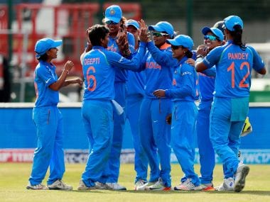 The Indian women's team celebrate their victory over England.   Reuters