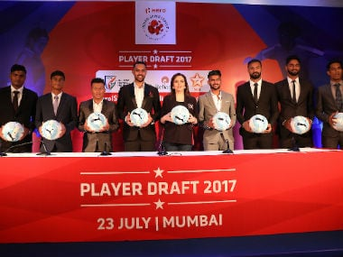 Sunil Chhetri and other Indian football players pose during the star-studded ISL players draft in Mumbai. ISL