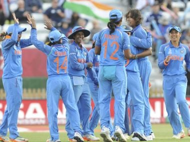 India's Jhulan Goswami, 3rd right, celebrates after bowling Australia's Meg Lanning, left, during the ICC Women's World Cup 2017 semifinal match between Australia and India at County Ground in Derby, England, Thursday, July 20, 2017. (AP Photo/Rui Vieira)