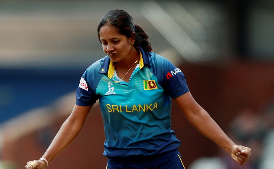 As India looked to up the ante, Inoka Ranaweera struck twice in two balls, sending Sharma and Raj back to the hut. Reuters