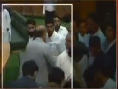 MLAs assaulted each other inside the J&K Assembly. Screenshot from CNN-News18 video