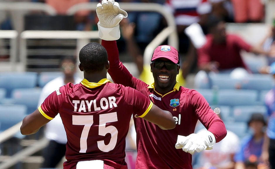 Jerome Taylor struck twice in the 19th over to ensure that India under 200. AP