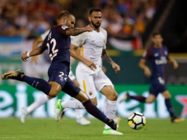 Paris Saint-Germain's Jese (22) kicks the ball during the second half of the team's International Champions Cup soccer match against AS Roma, Wednesday, July 19, 2017, in Detroit. (AP Photo/Carlos Osorio)