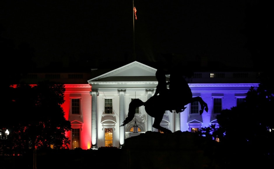 """The White House was lit with red, white and blue lights. US president Donald Trump wished the country a happy Independence Day by sharing a video of a band and chorus performing """"Make America Great Again"""". AP"""