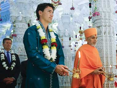 Canadian prime minister Justin Trudeau at the 10th Anniversary event of the BAPS Shri Swaminarayan Mandir in Toronto. Twitter/CanadianPM