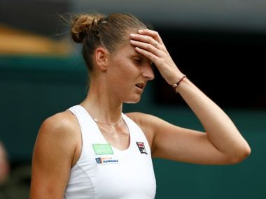 Karolina Pliskova reacts during her second round match against Magdalena Rybarikova. Reuters