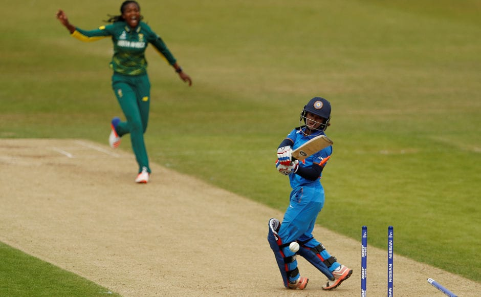 India did recover after Mandhana's wicket but an impatient shot from Punam Raut against Ayabonga Khaka triggered a collapse. Reuters