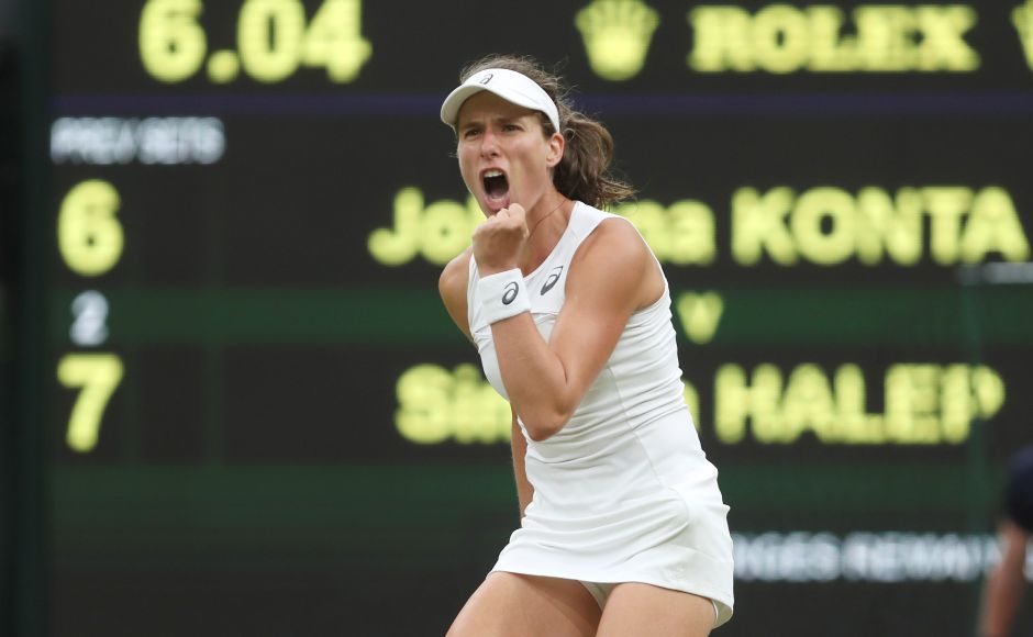 Johanna Konta powered past Simona Halep 6-7(2), 7-6(5), 6-4 to become the first British woman to reach the last four in almost 40 years. Reuters
