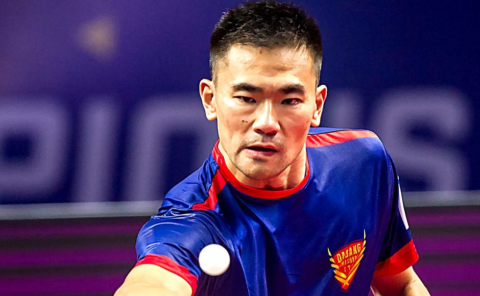 China-born Ukraine international World No 28 Kou Lei had a close encounter with Wong Chun Ting but ended up on the right side of the scorecard to enforce a commanding lead over DHFL Maharashtra United. Image courtesy: www.ultimatetabletennis.in