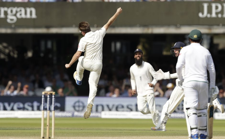 Liam Dawson celebrates after giving England a much-needed breakthrough by dismissing Hashim Amla 13 short of what would have been a 27th Test century. AFP