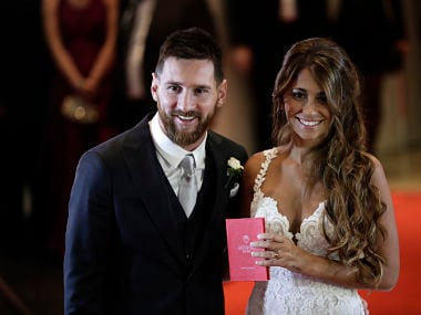 Newlyweds Lionel Messi and Antonella Roccuzzo. AP