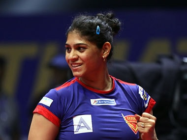Madhurika Patkar of Dabang Smashers TTC in action during the Tie 10 match of the CEAT Ultimate Table Tennis league played between DHFL Maharashtra United and Dabang Smashers TTC held at the Thyagraj Sports Complex, Delhi, India on July 22, 2017. Photo : Sandeep Shetty/ Focus Sports / Ultimate Table Tennis