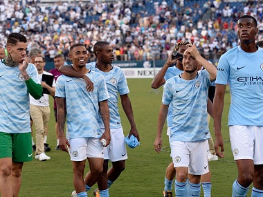 Manchester City players walk off the pitch after they defeated Tottenham in an International Champions Cup soccer match Saturday, July 29, 2017, in Nashville, Tenn. (AP Photo/Mark Zaleski)