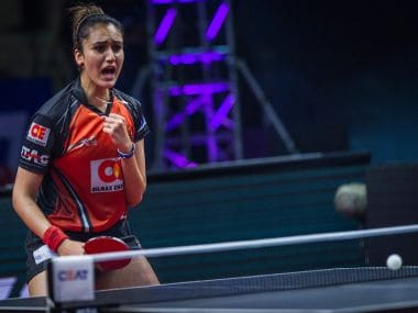 Manika Batra of Oilmax-Stag Yoddhas during the match against Shaze Challengers . Image courtesy: Ultimate Table Tennis