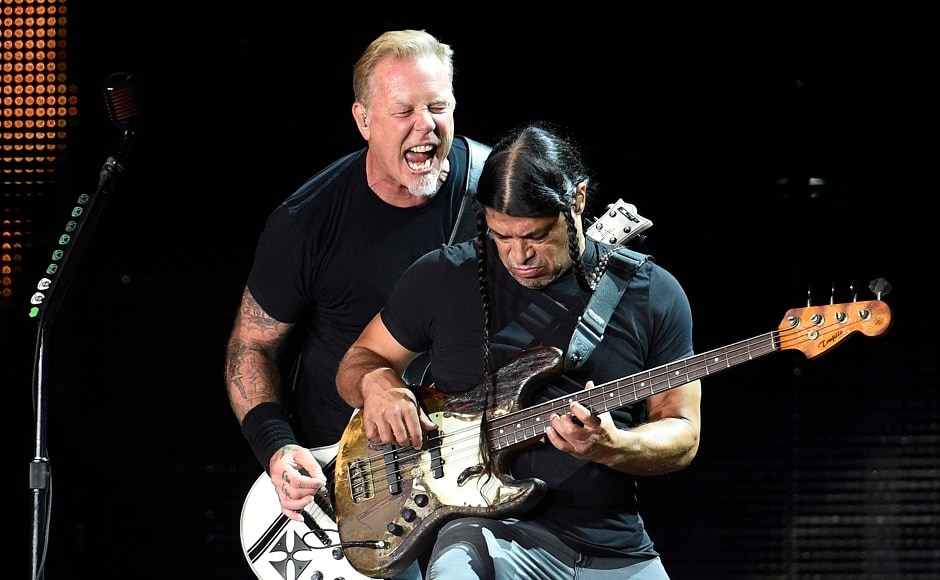 James Hetfield, left, and Robert Trujillo of Metallica perform during their concert at The Rose Bowl on Saturday, 29 July, 2017, in Pasadena, Calif. Photo by AP