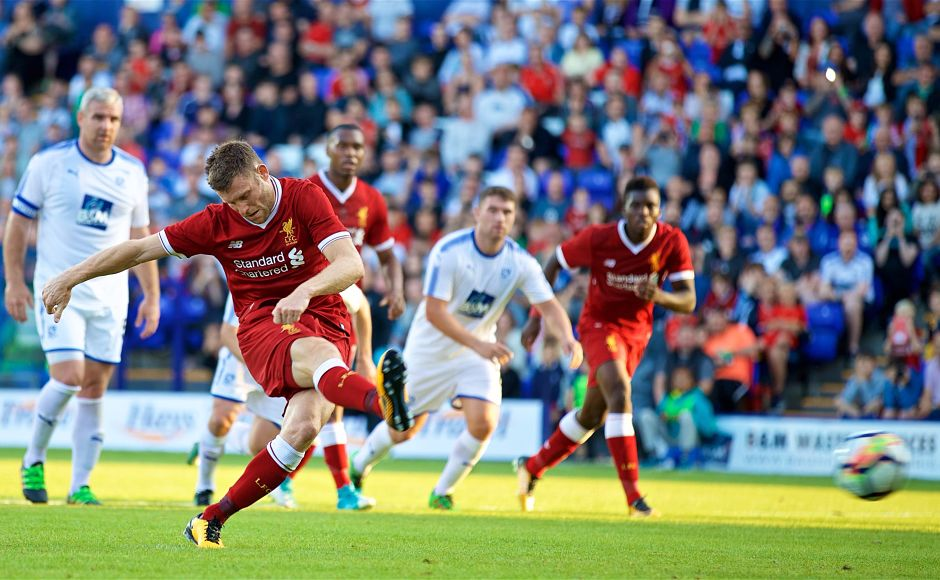 James Milner opened the account for Liverpool with a successful penalty kick against Tranmere Rovers in their pre-season friendly. Twitter/@LFC