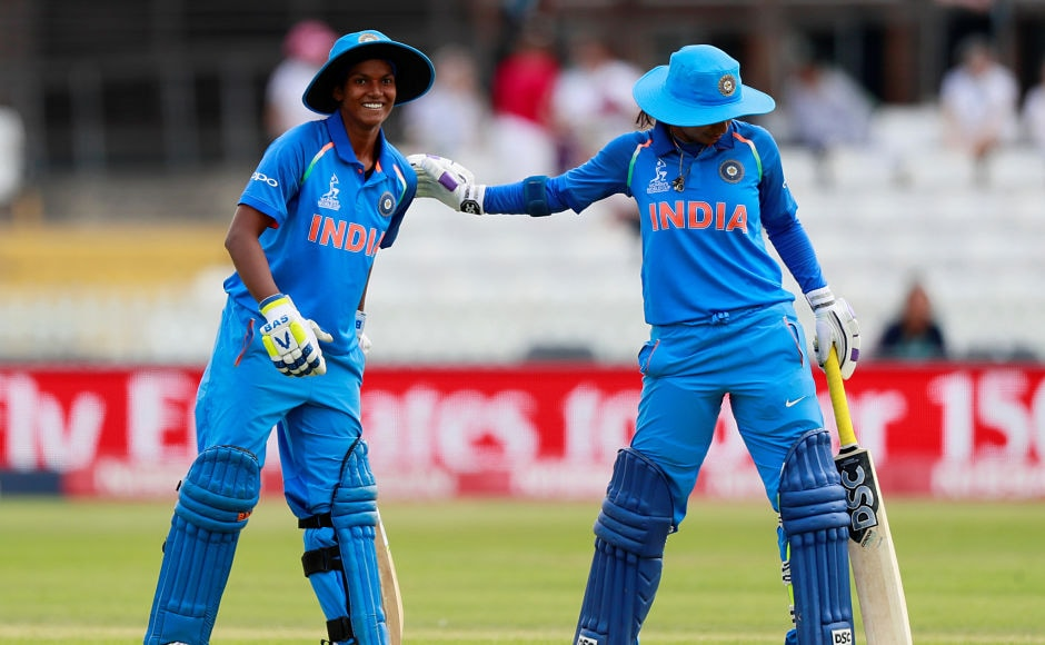 Deepti Sharma celebrates her 6th fifty and captain Mithali Raj acknowledges her contribution. She also stitched a 100-run stand with Mithali Raj. Reuters