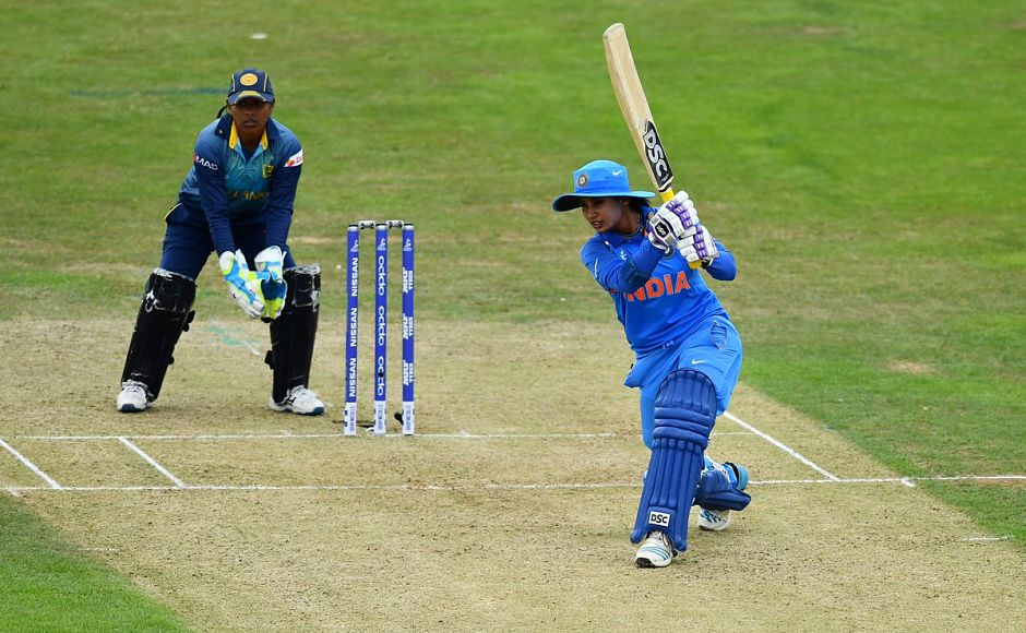 Mithali Raj did what she does — bail India out of trouble. In the process, she slammed her 48th half-century. Image courtesy: Twitter/@ICC