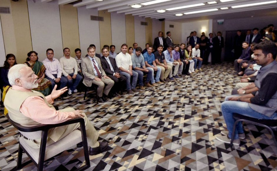 On the final day of his trip, Modi met with a group of Indian students pursuing higher education in Israel. PTI