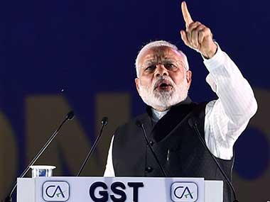 Prime Minister Narendra Modi at the Foundation Day of Institute of Chartered Accountants of India (ICAI) at Indira Gandhi Indoor stadium in New Delhi. PTI