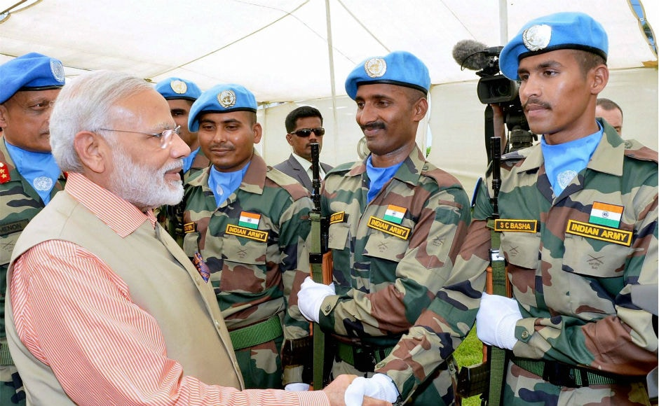 Modi met the members of the Indian contingent of United Nations Interim Force in Lebanon at Haifa. Modi also visited a World War I memorial for Indian soldiers in the city. PTI