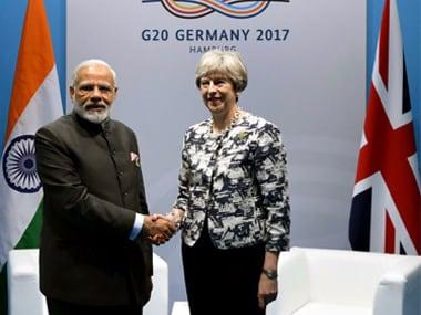 Narendra Modi with UK Prime Minister Theresa May at the G20 Summit in Hamburg. Twitter @MEAIndia