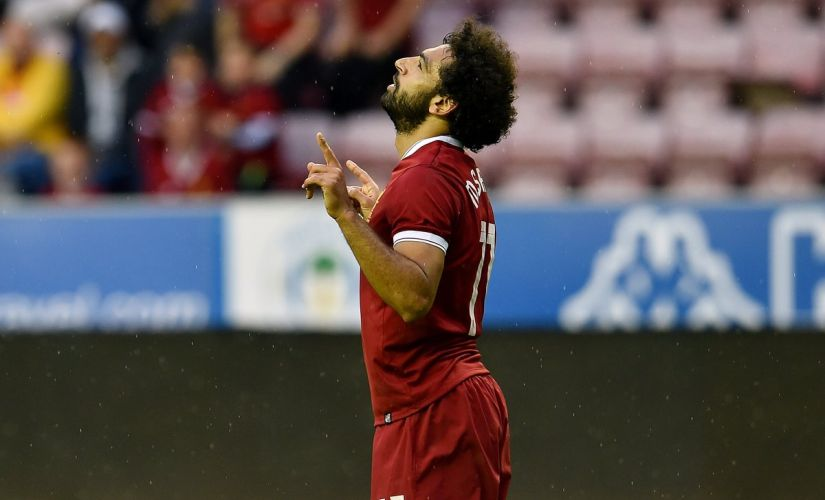 Mohammad Salah scored on his Liverpool debut in the 1-1 draw against Wigan. Twitter/@LFC