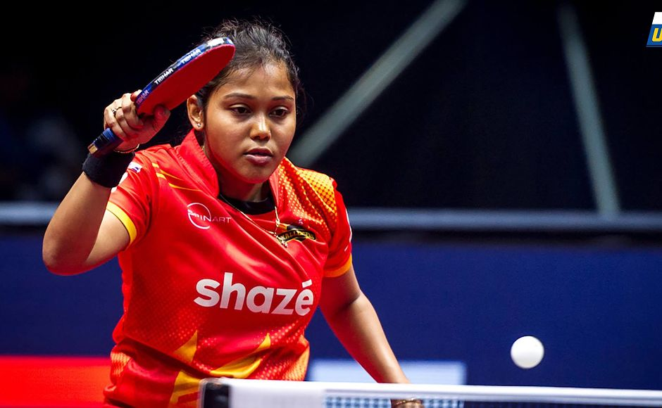 Mouma Das got a valuable point in her defeat to Sabine Winter. Image Courtesy: Facebook/UltimateTableTennis