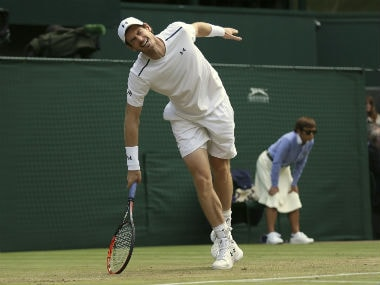 Andy Murray grimaces during his quarter-final match against Sam Querrey of the United States during their Men's Singles Quarterfinal Match on day nine at the Wimbledon. AP