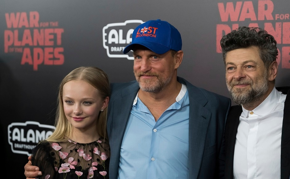 Amiah Miller, left, Woody Harrelson, center, and Andy Serkis attend a War for the Planet of the Apes screening at SVA Theatre on Monday, 10 July, 2017, in New York. Photo by AP