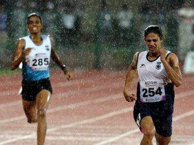 Nirmala Sheoran and Jisna Mathew in action. PTI