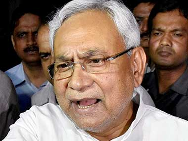 Bihar Chief Minister Nitish Kumar speaks to the media after meeting Governor KN Tripathi, in Patna on Wednesday. PTI