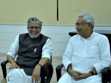 Bihar chief minister Nitish Kumar and his deputy Sushil Kumar Modi. PTI