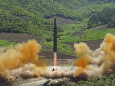 This photo distributed by the North Korean government shows what was said to be the launch of a Hwasong-14 intercontinental ballistic missile, ICBM, in North Korea's northwest, Tuesday, July 4, 2017. Independent journalists were not given access to cover the event depicted in this photo. North Korea claimed to have tested its first intercontinental ballistic missile in a launch Tuesday, a potential game-changing development in its push to militarily challenge Washington — but a declaration that conflicts with earlier South Korean and U.S. assessments that it had an intermediate range. (Korean Central News Agency/Korea News Service via AP)