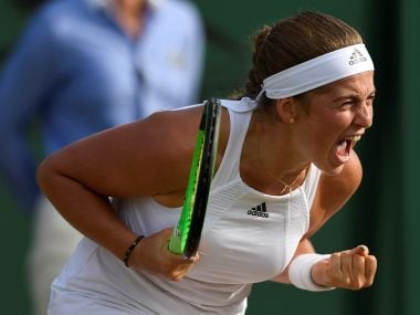 Tennis - Wimbledon - London, Britain - July 7, 2017 Latvia's Jelena Ostapenko celebrates winning her third round match against Italy's Camila Giorgi REUTERS/Tony O'Brien - RTX3AJCH