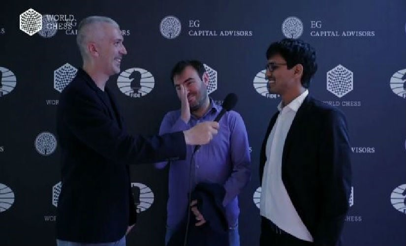 Screengrab of Indian grandmaster P Harikrishna and his Round 3 opponent Shakhriyar Mamedyarov after their drawn game.
